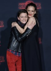"Winona Ryder and Noah Schnapp attend the ""Stranger Things"" Season 2 premiere in Los Angeles"