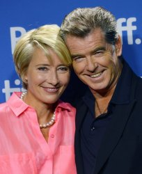 Emma Thompson and Pierce Brosnan attend 'The Love Punch' press conference at the Toronto International Film Festival