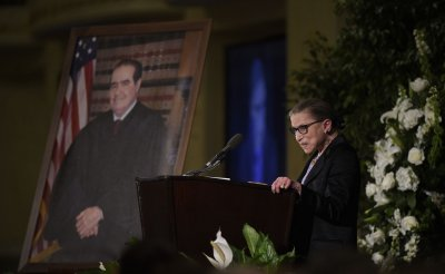 Justice Ruth Bader Ginsburg speaks at the memorial service for Antonin Scalia