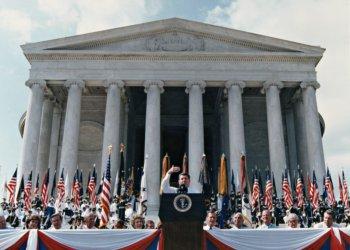 President Reagan Speaks at Jefferson Memorial