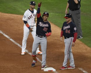 Nationals Soto celebrates single in the World Series in Houston