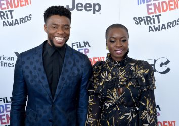 Chadwick Boseman and Danai Gurira attend the Film Independent Spirit Awards in Santa Monica, California