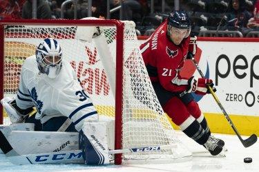 Washington Capitals right wing Garnet Hathaway looks to shoot on Toronto Maple Leafs goaltender Michael Hutchinson