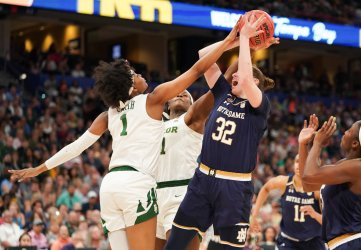 Notre Dame's Jessica Shepard is blocked in the NCAA Women's Basketball Championship