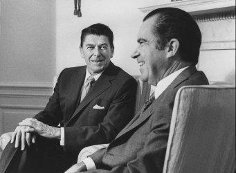 Ronald Reagan and Richard Nixon Discuss Together