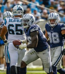 Dallas Cowboys defensive end DeMarcus Lawrence celebrates