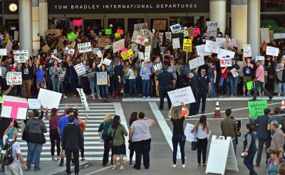 Protesters rally at LAX in opposition to Trump's Refugee Travel Ban