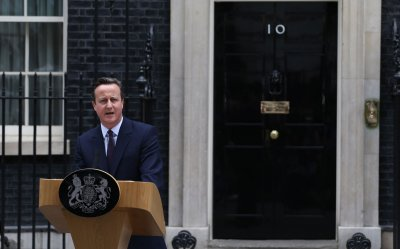 David Cameron speaks to the media after gaining a majority for the Conservatives in the General Election campaign.