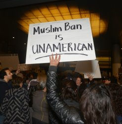 Hundreds protest in opposition to Trump's Muslim ban order at LAX