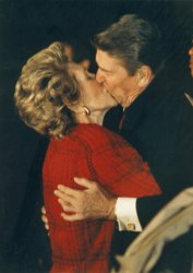 Nancy Reagan Kisses President Reagan