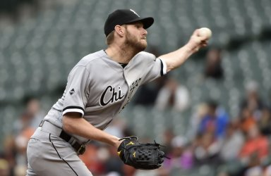 White Sox pitcher Chris Sale delivers to the Baltimore Orioles
