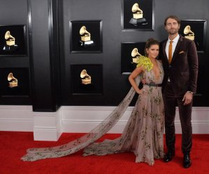 Maren Morris and Ryan Hurd arrive for the 61st Grammy Awards in Los Angeles