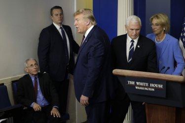 Donald Trump speaks on the Coronavirus in Washington