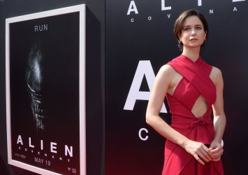 Katherine Waterston attends Sir Ridley Scott's handprint ceremony in Los Angeles