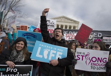 Pro life activists demonstrate during the March For Life march .