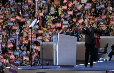 Vice President Joe Biden reacts to the crowd at DNC