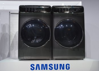 Samusung's new 4-in-one washer dryer displayed at the Samsung Press Conference ahead 2017 International CES .