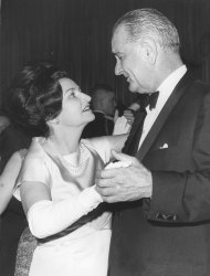 President and Mrs. Lyndon Johnson dance at one of the Inaugural Balls