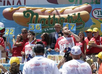 Joey Chestnut and Matt Stonie compete at Hot Dog Contest