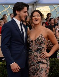 Joe LoCicero and Gina Rodriguez attend the 23rd annual SAG Awards in Los Angeles