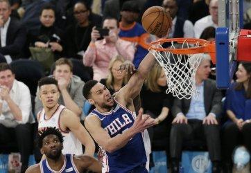 Philadelphia 76ers ben Simmons drives to the basket