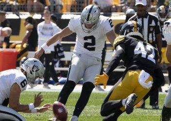 Las Vegas Raiders Kicker Daniel Carlson in Pittsburgh
