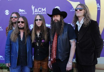 Musicians Brandon Still, Paul Jackson, Charlie Starr, Brit Turner and Richard Turner of the band Blackberry Smoke arrive at the Academy of Country Music Awards in Las Vegas