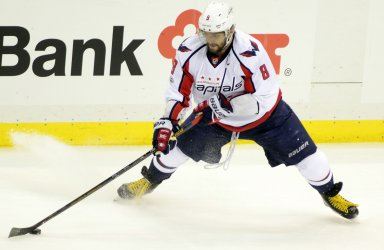 Capitals Alex Ovechkin Takes Shot on Goal in Pittsburgh