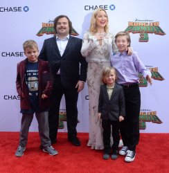 """Jack Black, Kate Hudson and sons attend the """"Kung Fu Panda 3"""" premiere in Los Angeles"""