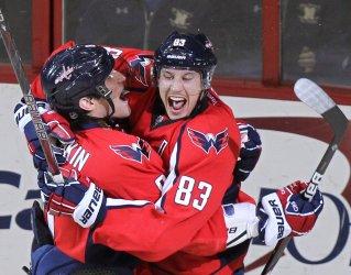 Capitals Jay Beagle celebrates goal with teammate Alex Ovechkin in Washington D.C.
