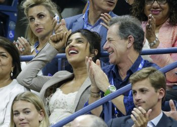 Priyanka Chopra watches tennis at the US Open
