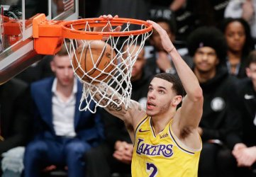 Los Angeles Lakers Lonzo Ball dunks the basketball