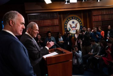 Schumer holds a press conference on Day 3 of Trumps impeachment trial at the U.S. Capiton