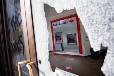 Bank fo America Damaged Following George Floyd Protest in Washington, DC