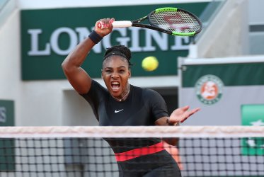 Serena Williams plays her third round match at the French Open