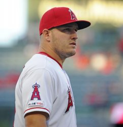 Los Angeles Angels Mike Trout looks up at the fans