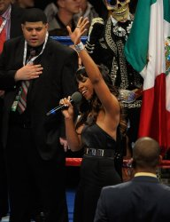 Kelly Rowland performs the national anthem before WBC Welterweight Title in Las Vegas