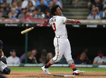 Braves' Ronald Acuna Jr. during the MLB All-Star Home Run Derby in Cleveland, Ohio