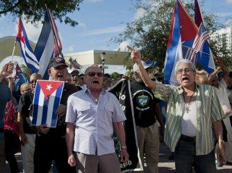 Anti-Castro Protesters in Little Havana, Miami, Florida