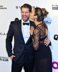 Matthew Morrison and Renee Puente attend the Elton John Aids Foundation Oscar viewing party