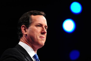 Republican Presidential candidate Rick Santorum speaks at the AIPAC in Washington