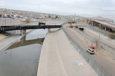 Border Fence Between El Paso And Juarez