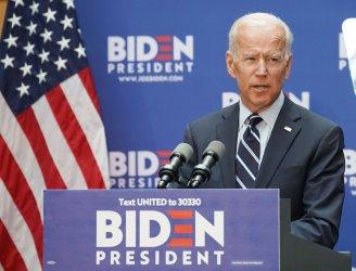 Democratic candidate Joe Biden speaks on foreign policy