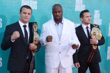 Pat Curran, King Mo and Michael Chandler arrive at the 2012 MTV Movie Awards in Universal City, California