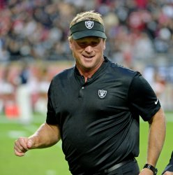 Raiders' Gruden leaves the field after Raiders win