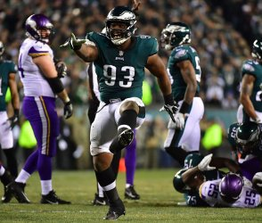 Eagles Jernigan celebrates a stop against the Vikings in the NFC Championship