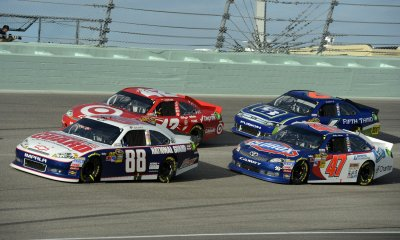 The Homestead-Miami Speedway hosts the NASCAR Sprint Cup Series Championship Ford EcoBoost 400 in Homestead, Florida