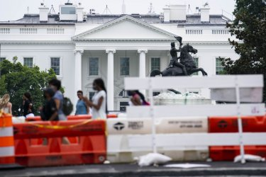 Construction Outside of White House Ahead of Infrastructure Bill Vote