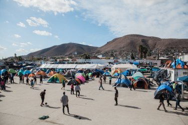 Asylum Seekers wait in Mexico Near U.S. border