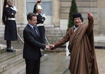 Lybian leader Gadhafi at the Elysee Palace in Paris